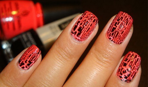 black and orange crackle ideas1 Simple Flower Nail Art 1