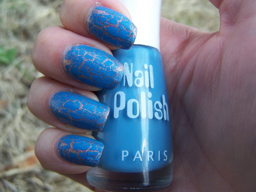 blue nail polish ideas Crackle Nail Polish