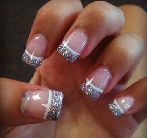 Perfect French Tip Nail Designs with Glitter 500 x 469 · 72 kB · jpeg