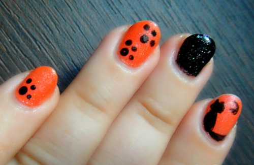 orange and black nail tips Colored Nail Tips