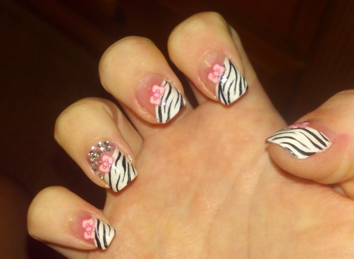 pink and with zebra nail designs Zebra Nail Tips