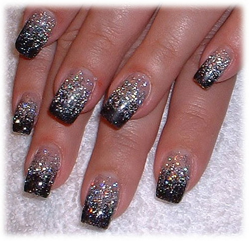 black glitter nail Have a go at Nail Art Stickers!