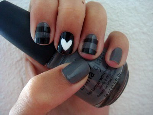 black love simple cute nail Cute Simple Nail Designs