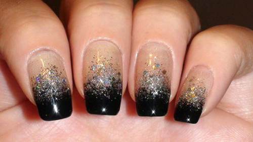 black silver glitter gradient nail art Making Glitter Nail Art