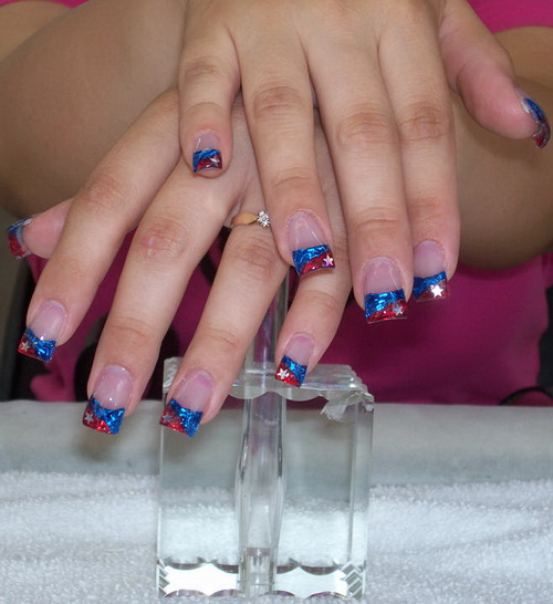 blue colored nail tips Colored Nail Tips