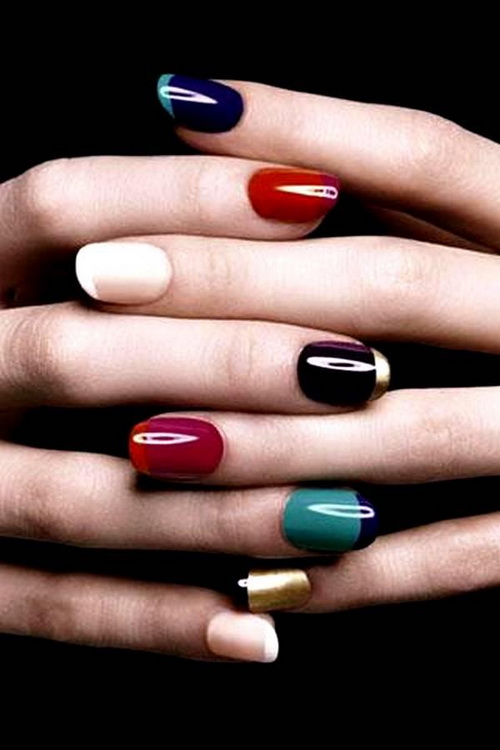 colored nail art tips French Nail Designs