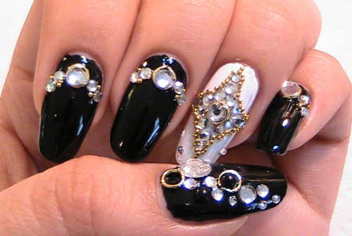 Japanese Black Nail Art