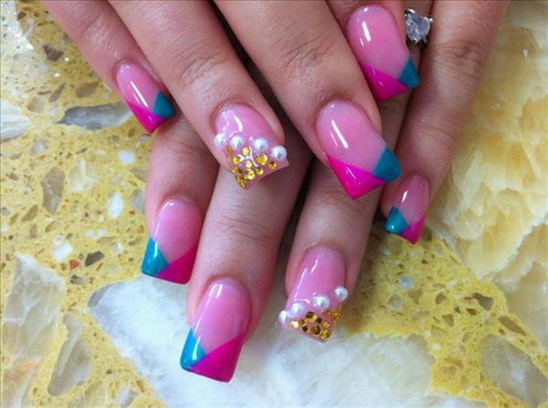 pink and blue arcylic nail Acrylic Nail Tips