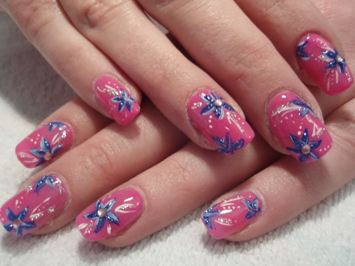 pink nail with blue flower1 Pink Nail Tips