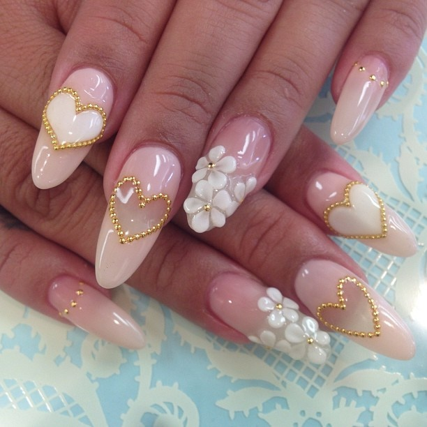 Pink 3d nail art design for 3d nail decoration