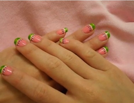 watermelon nails tutorial Ruffian Manicure Tutorial