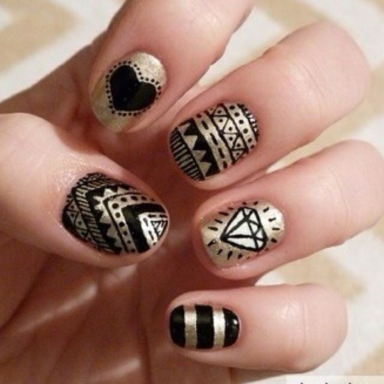 Black And Gold Nail Designs 1